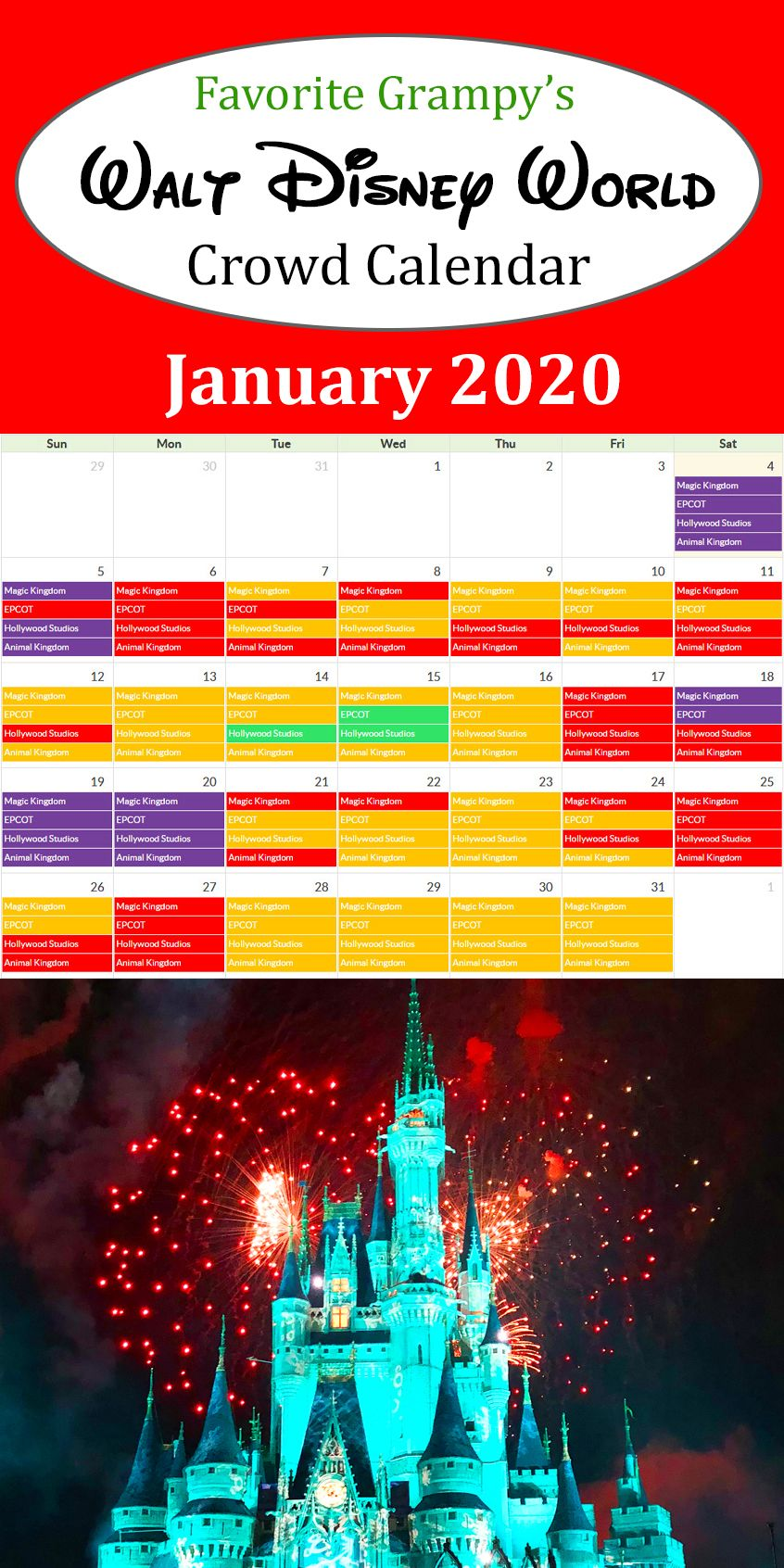 Disney World Crowd Calendar By In 2020 Disney World Crowd