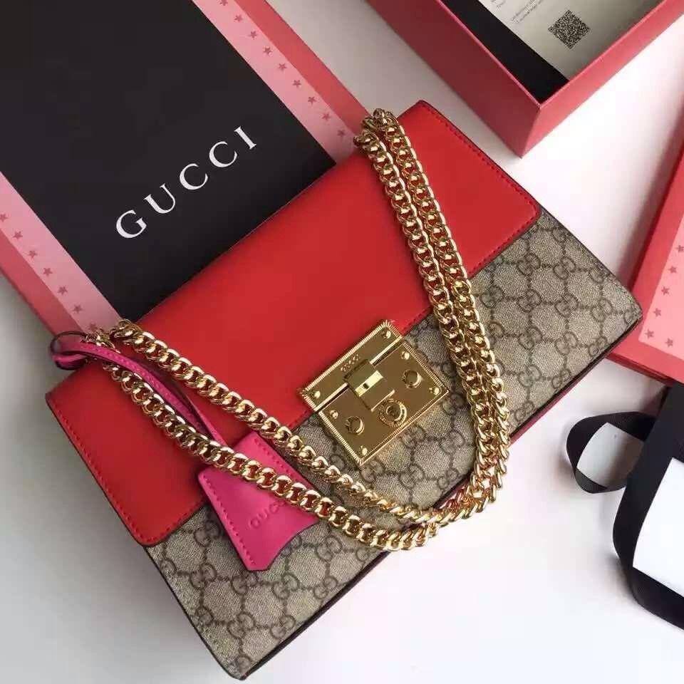11a3b253a06 Gucci 409486 Medium Padlock GG Supreme Shoulder Bag Red F W 2015 ...