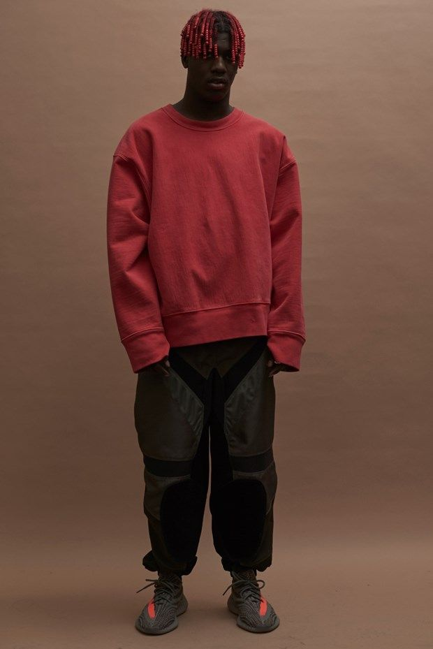 2ba9218b7 This outfit from Yeezy season 3 has the emphasis on the orange stripe on  the Yeezy Supply 350 Boost also the red crew neck. When looking at this  outfit the ...