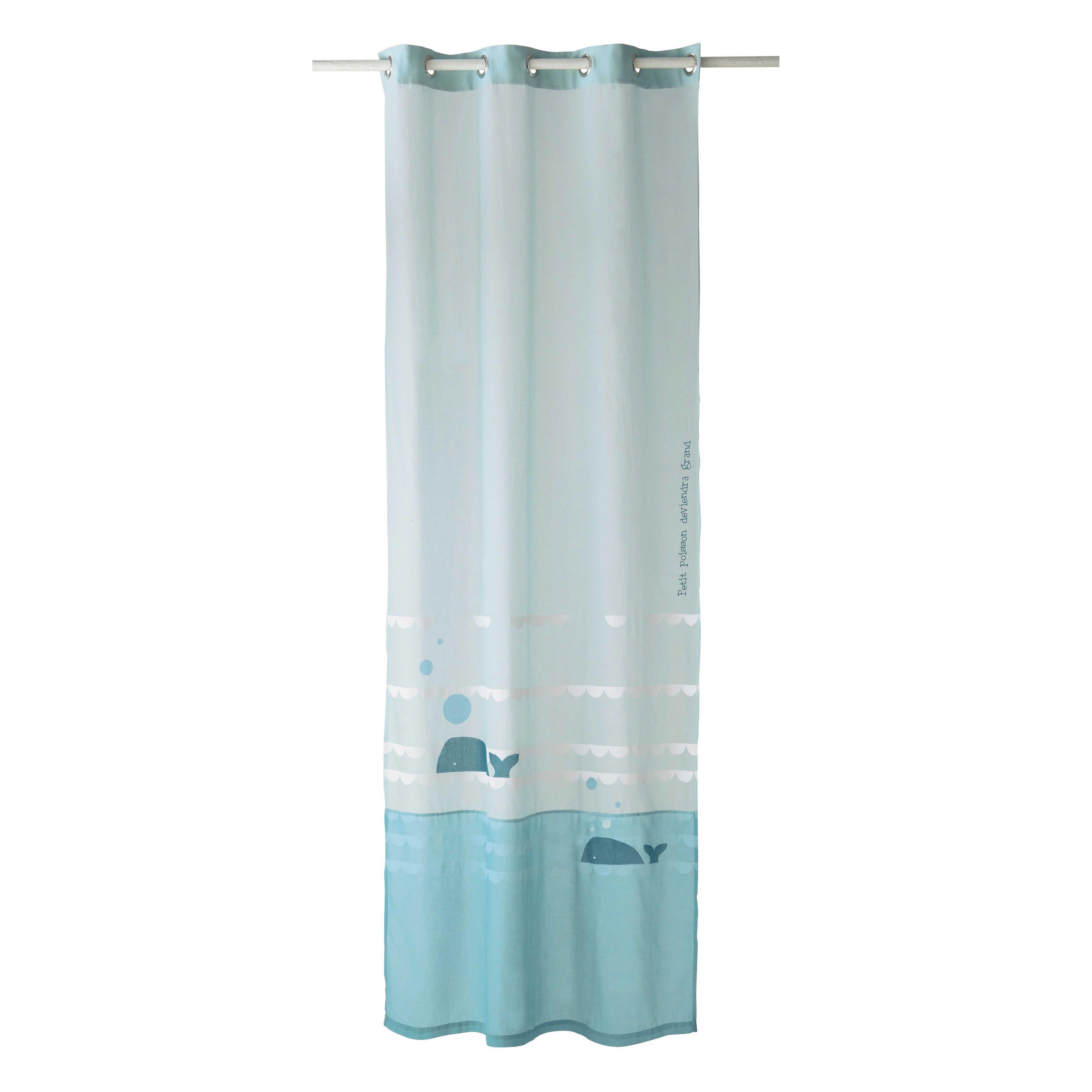 rideau en coton bleu 110 x 250 cm marin