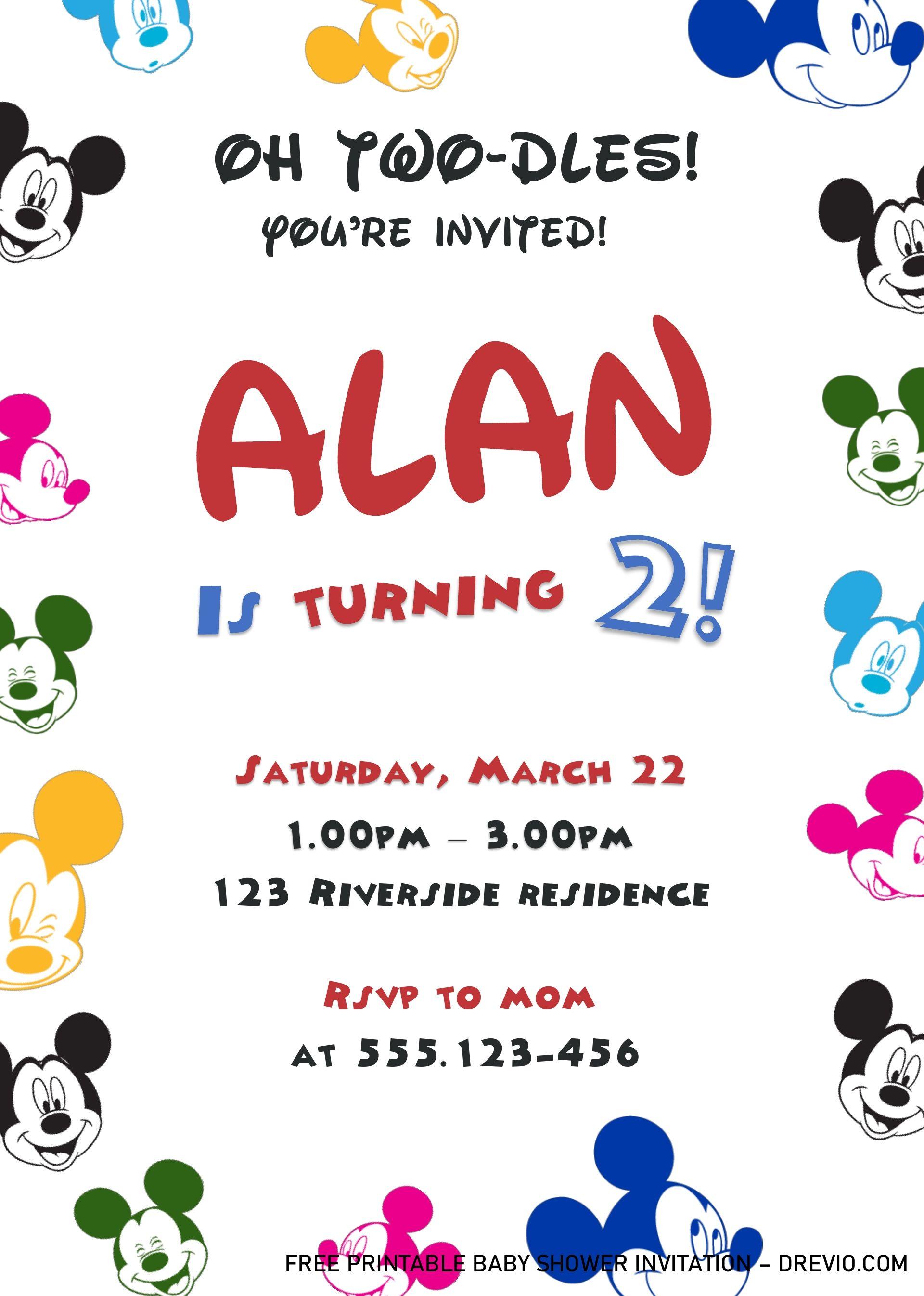 Cute Mickey Mouse Birthday Invitation Templates - Editable ...