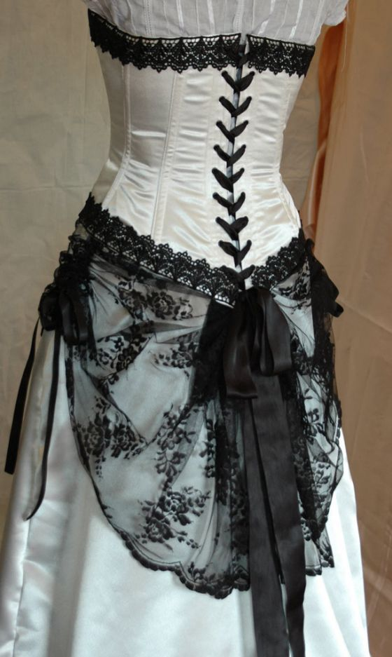 Ivory and black adjustable victorian style wedding dress for Victorian corset wedding dresses