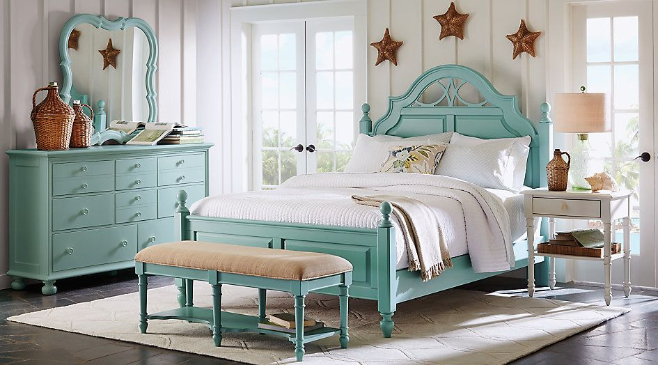 Cindy Crawford Home Seaside Blue Green Low Poster 5 Pc Queen