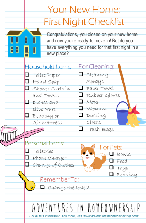 Adventures In Homeownership First Night A New Home Checklist By Elizabeth Gillette