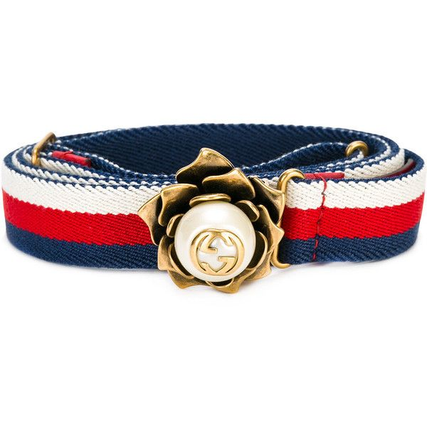 d270b297a34 Gucci Web belt with flower (€335) ❤ liked on Polyvore featuring accessories