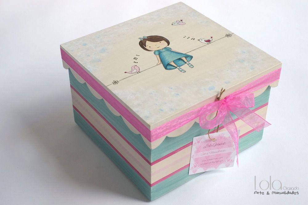 caja de madera para ni a decorada con mu eca y