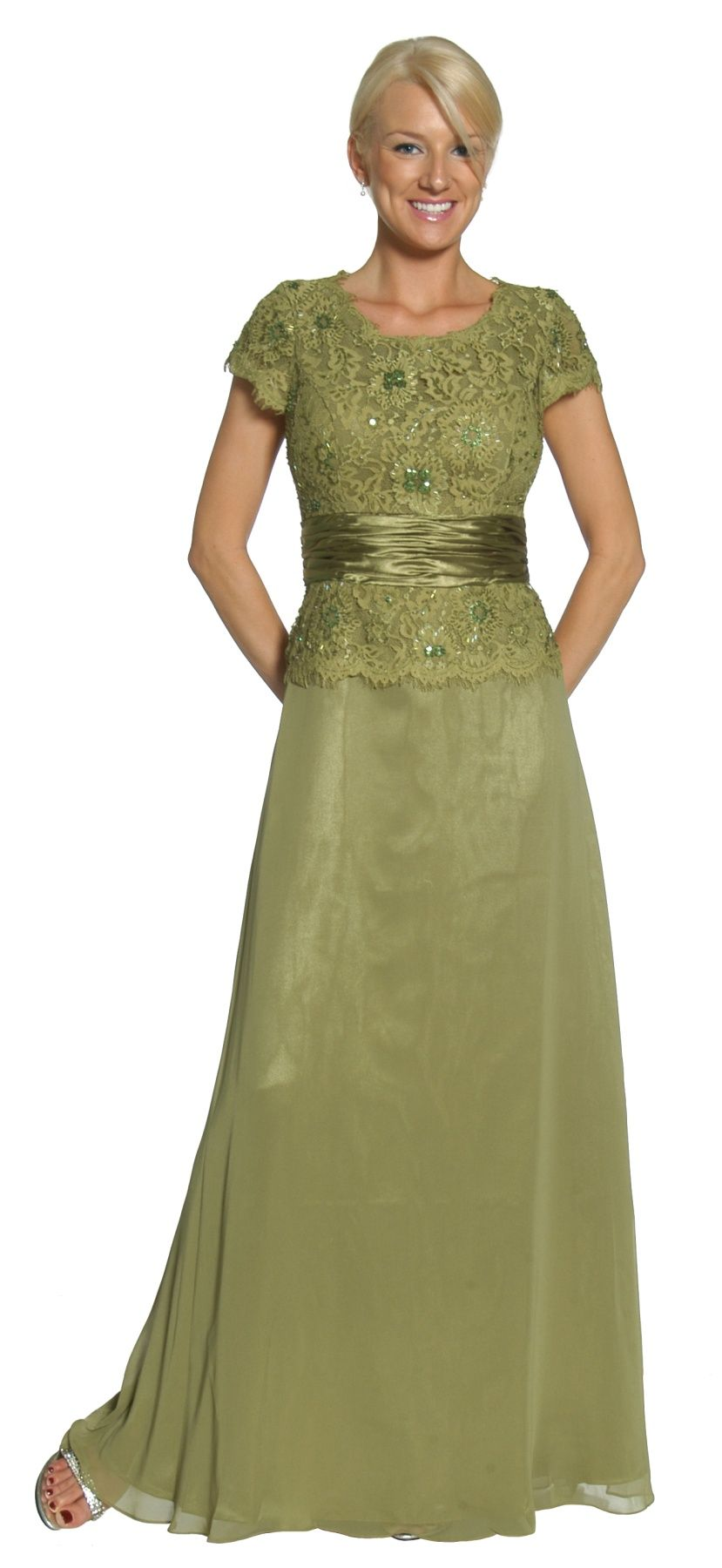 1a3209be8e Olive Green Mother of Bride Groom Dress Evening Chiffon Cap Sleeve ...