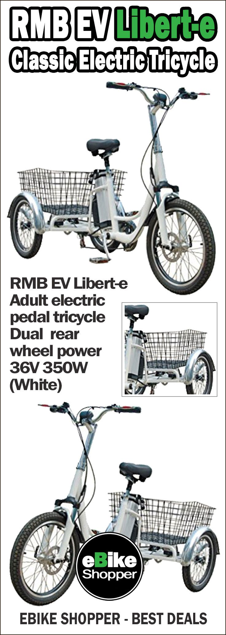 RMB EV Liberte Adult electric pedal trike / tricycle with