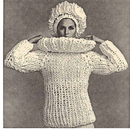 Rich Boy Sweater Hat Big Needle Knitting Pattern.   The Rich Boy costume is made up of 4 separate pieces. 1) Sweater. 2) Large separate stand-up collar. (This is also worn lying flat in a petal effect). 3) Hat with drawstring top. 4) Rolled brim for hat which also doubles as a snug fitting turtle neck collar for sweater.