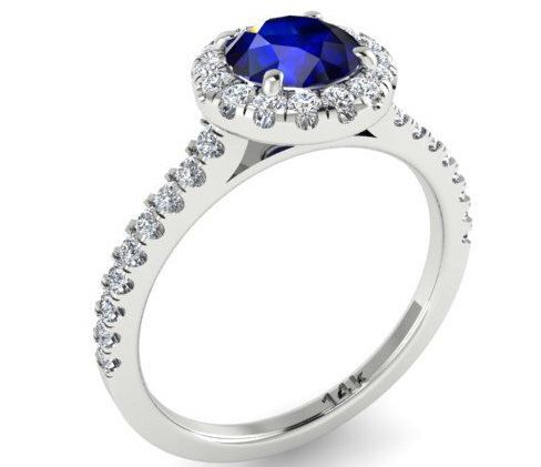 1 Carat Blue Sapphire Engagement Ring Diamond Wedding Round Halo