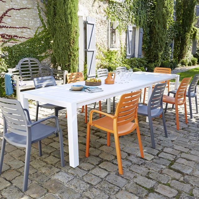 Table de jardin en aluminium Batang 205/335 x 101 cm blanc | Table ...