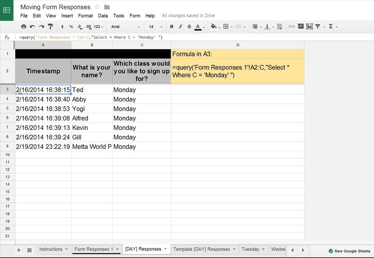 Using Google Spreadsheet formulas to filter data into organized