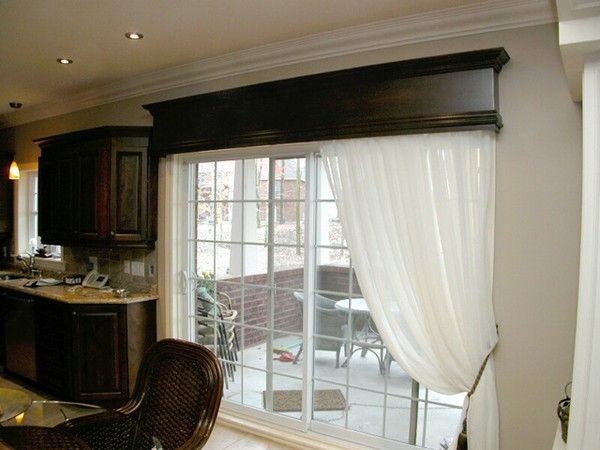 I Like The Look Of The Solid Wood Valance With Crown Details Also Make The Doors Look Like French Doors Patio Door Window Treatments Patio Door Coverings Home