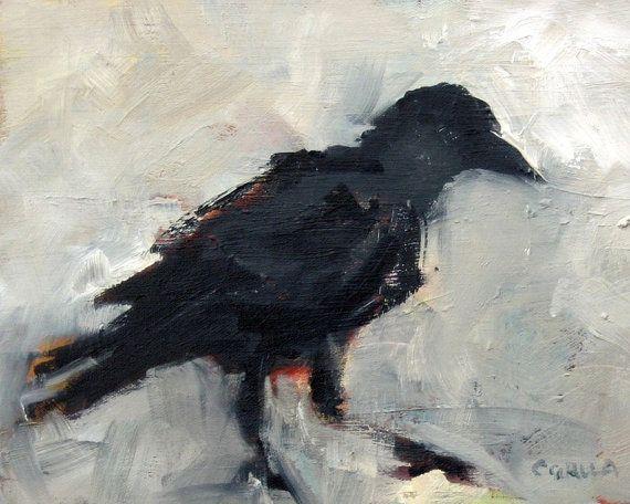 Black Bird Crow Fine Art Giclee Print of door CorinneGallaFineArt, $25.00