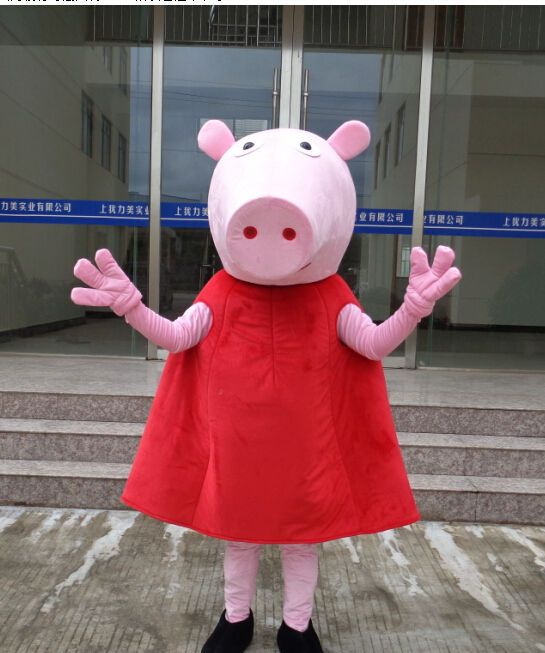 Super Head Peppa Pig Mascot Costume Cartoon Halloween Fancy Dress