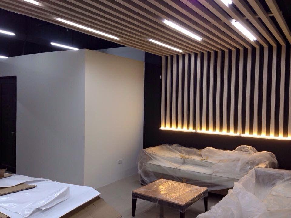 Wood trellis ceiling   Office Design Inspiration ...