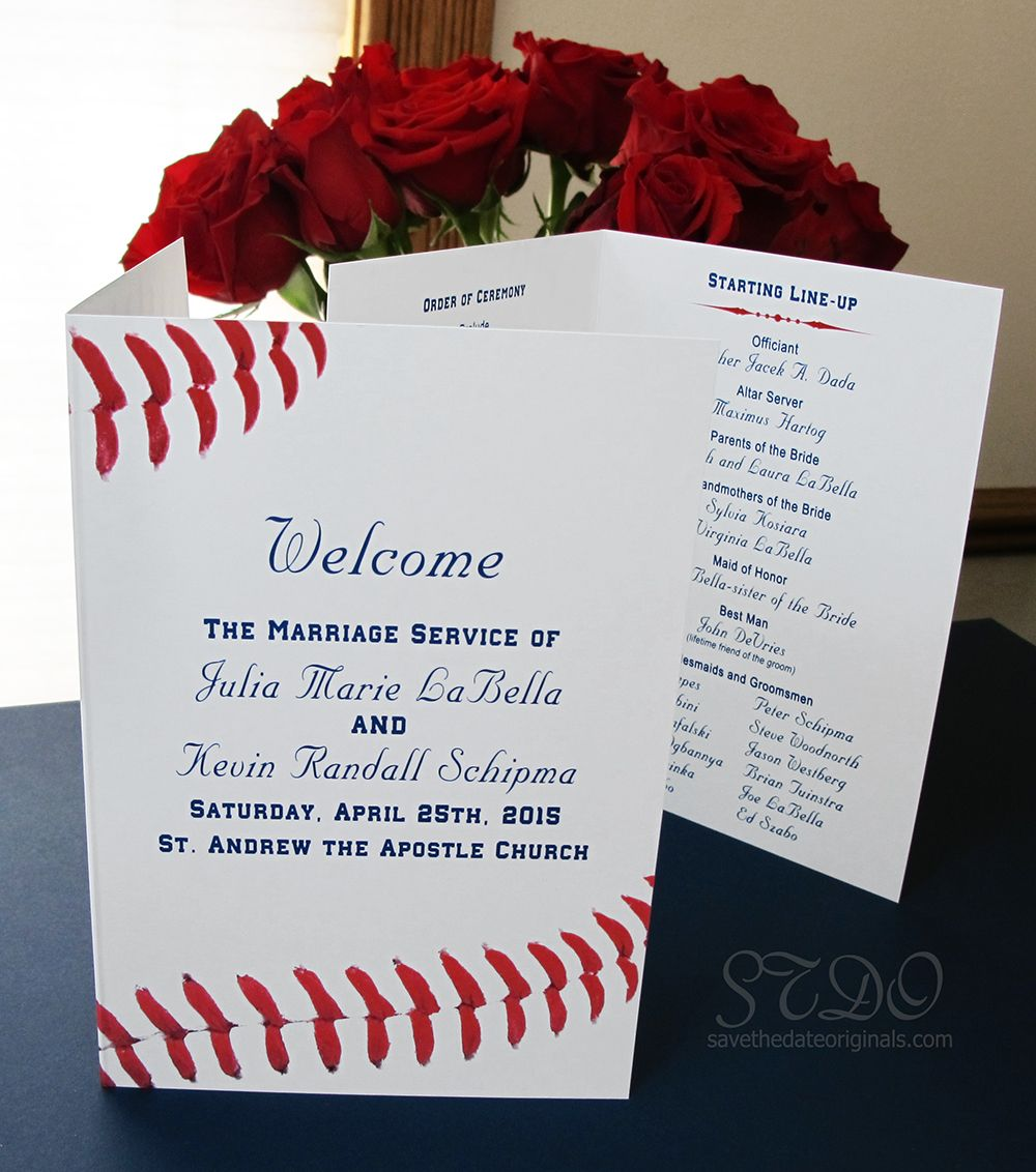 Save The Date Originals   Baseball Wedding Themed Program #sports