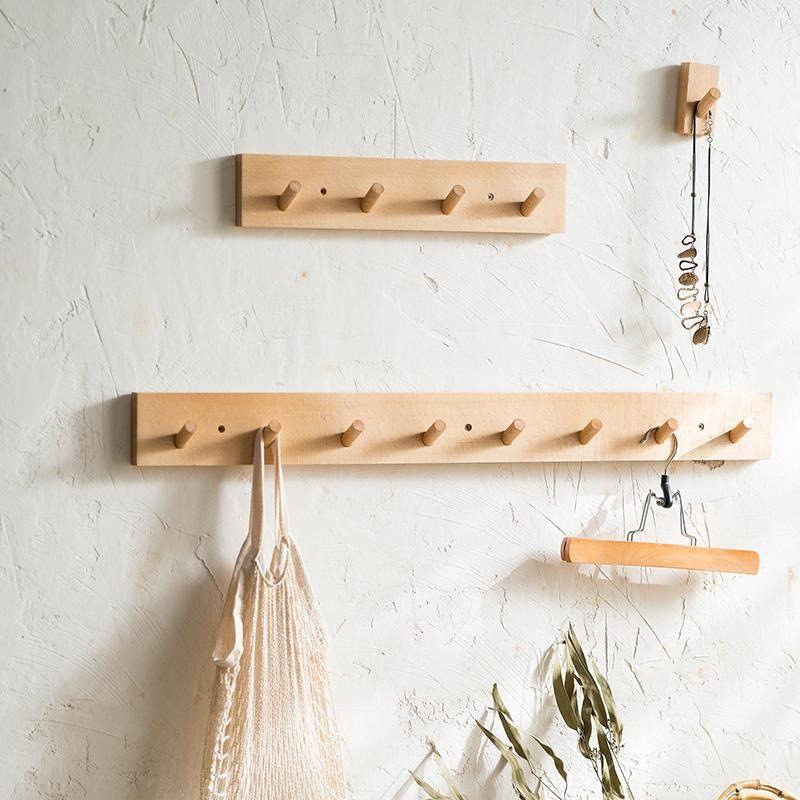 Wooden Hook Wall Hooks Hat Jacket Peg Coat Storage Hanger Home Storage Supplies