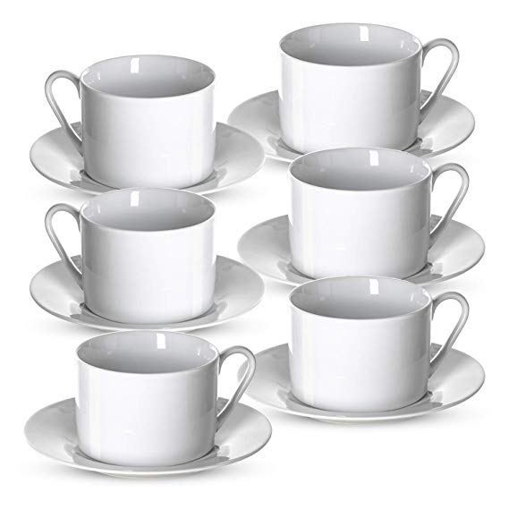 Amazon Com Klikel Tea Cups And Saucers Set 6 Piece White Coffee Mug Set 6 Plates And 8 5oz Mugs Cappuccino Cu White Tea Cups White Coffee Mugs Tea Cups