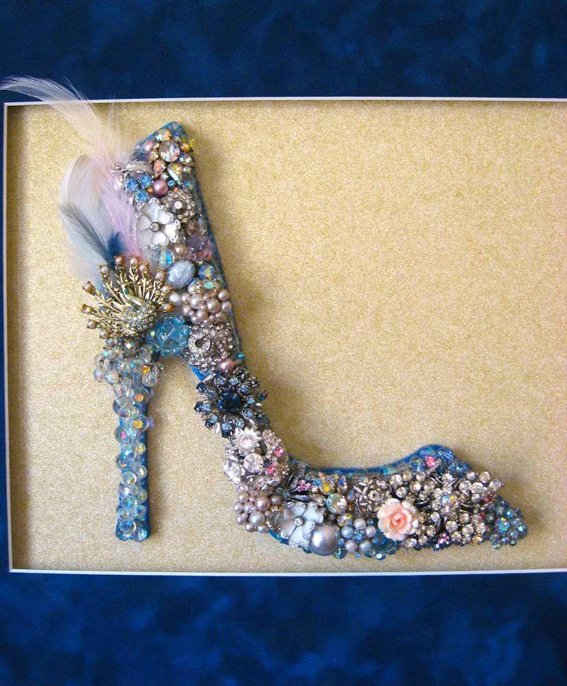 shoe vintage Glass Shoe Vintage Jewelry Mosaic Wall Art by ArtCreationsByCJ