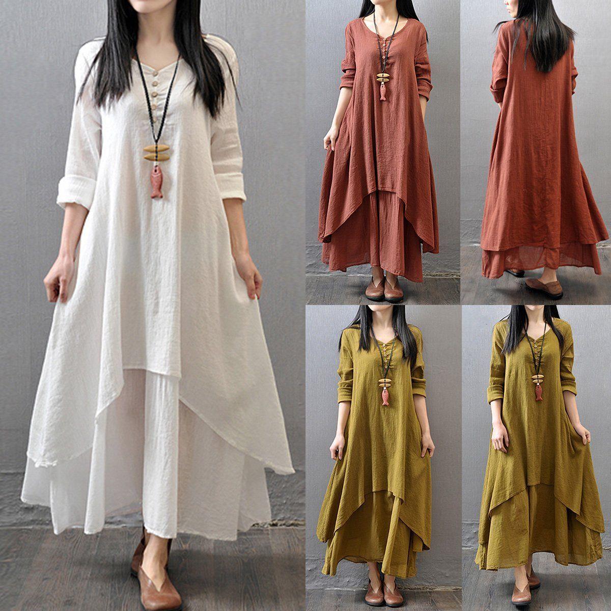 Women ethnic cotton linen long dress summer spring long sleeve maxi