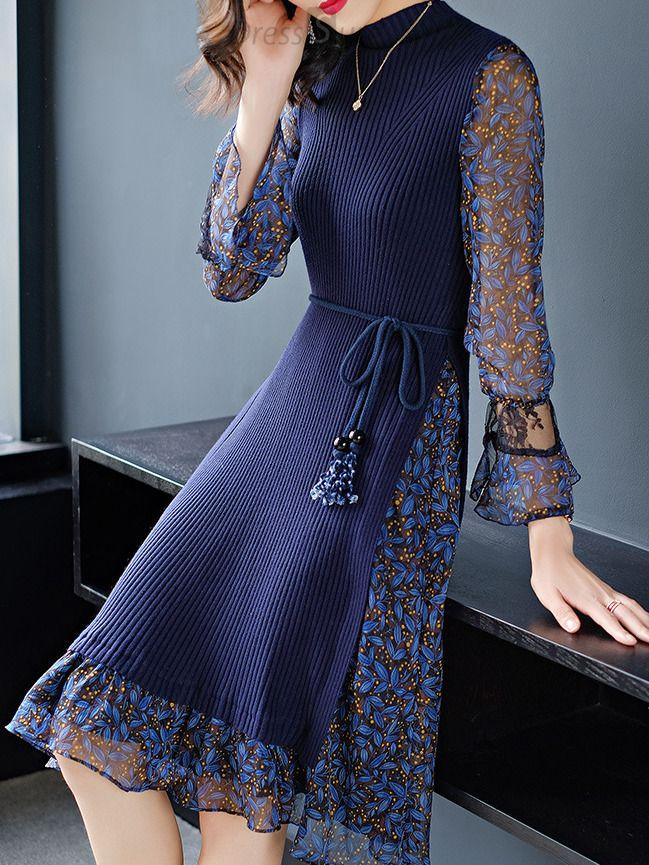 Fashion Stitching High Collar Flare Sleeve Skater Dress