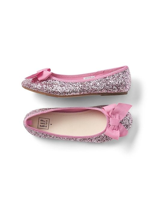 24c2194ab1 Glitter Bow Ballet Flats | Style in 2019 | Girls shoes, Cute girl ...