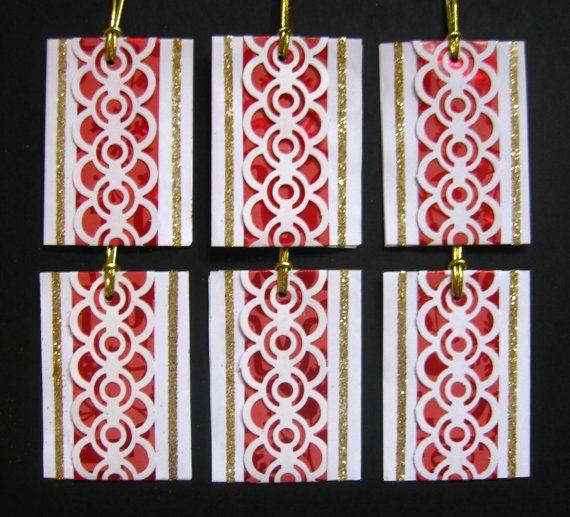 6 Handmade Paper Christmas Gift Tags  by LottieVidaDesigns Etsy shop #xmas_present #Black_Friday #Cyber_Monday