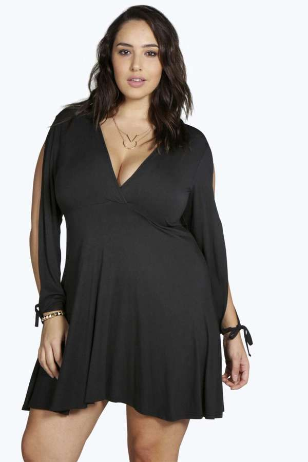 Plus Caroline Split Sleeve Skater Dress Plus Size Fashion