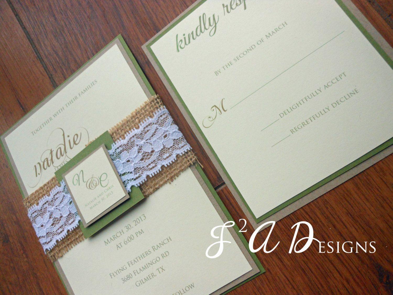 Burlap u lace greenbrownyellow wedding invitation olive green