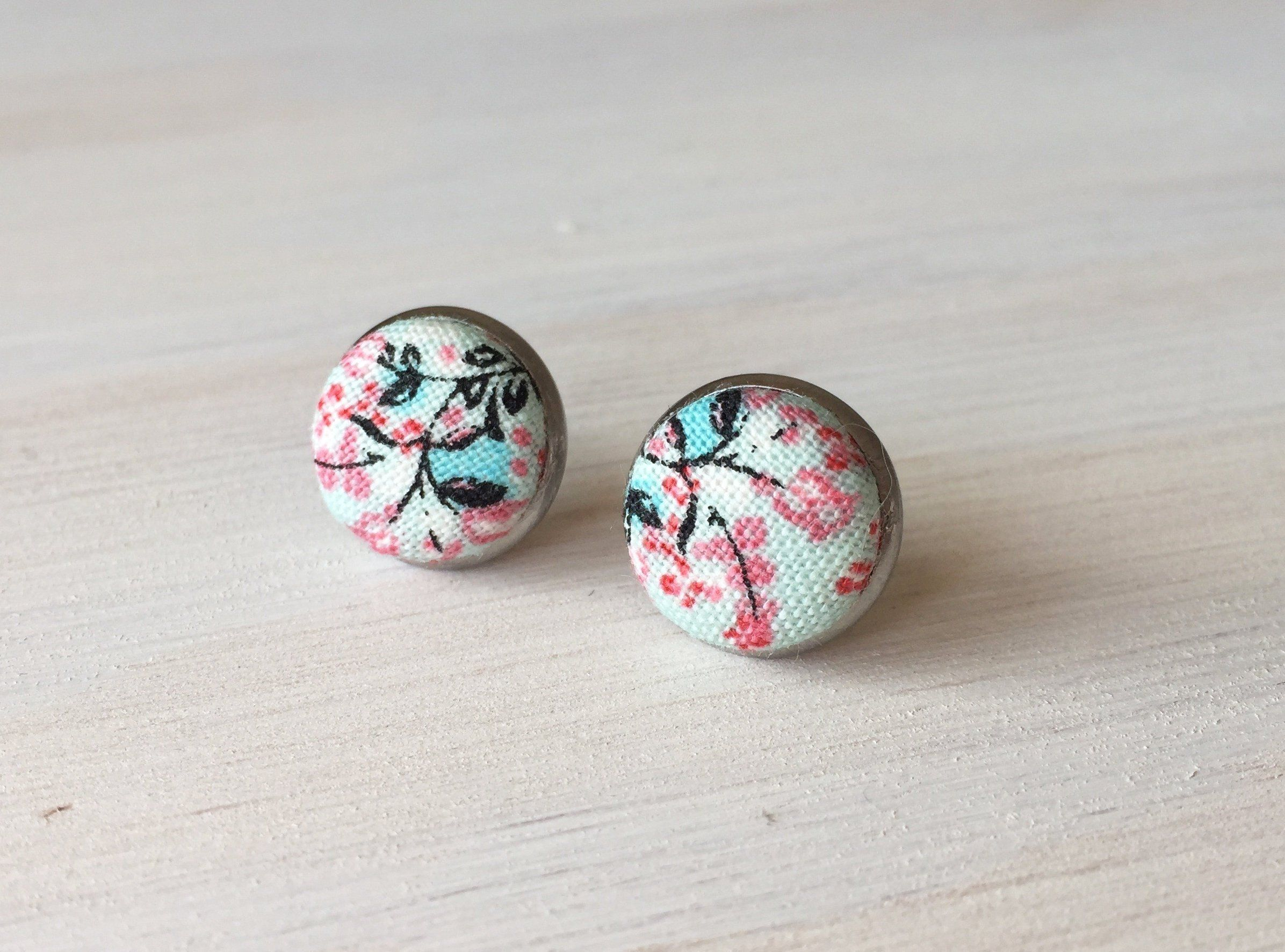 Teal Bright Pink Surgical Stainless Steel Vintage Modern Vibe White Blue Handmade in Canada Womens Earrings Floral Fabric Stud Earrings Hypoallergenic Button Cover Studs Gift for Her