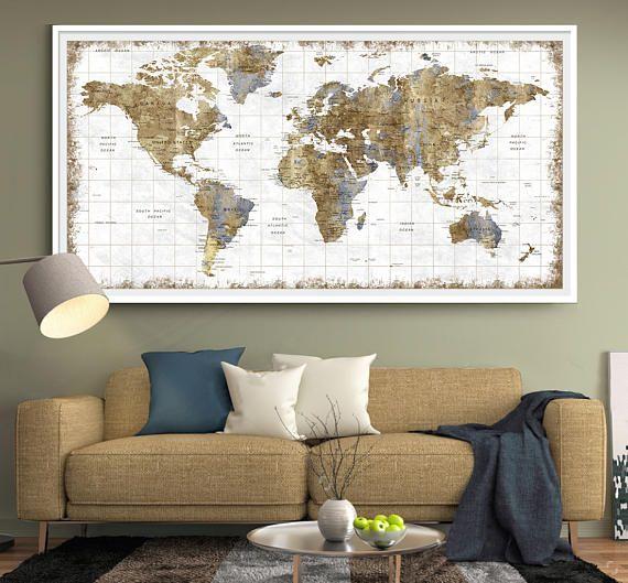 Large Wall Art Push Pin World Map World Map Wall Art Print World Map Decor World Map Wall Decor Large Art Prints Framed map of the world