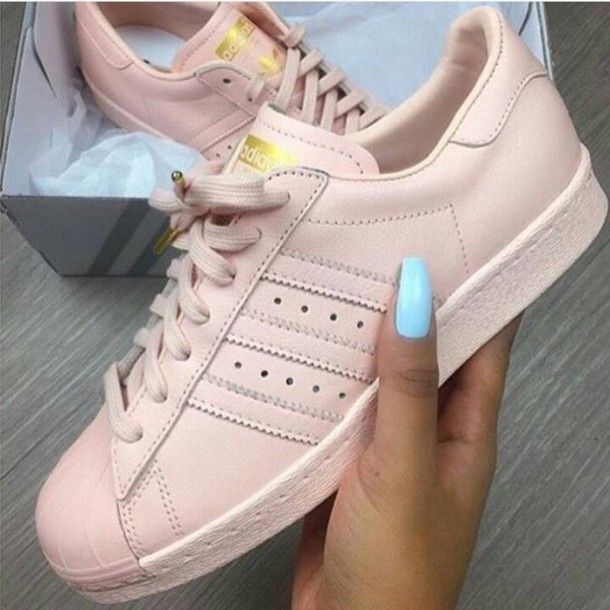 adidas superstars adidas adidas shoes light pink baby pink pink trainers  superstar pastel gold blush pink