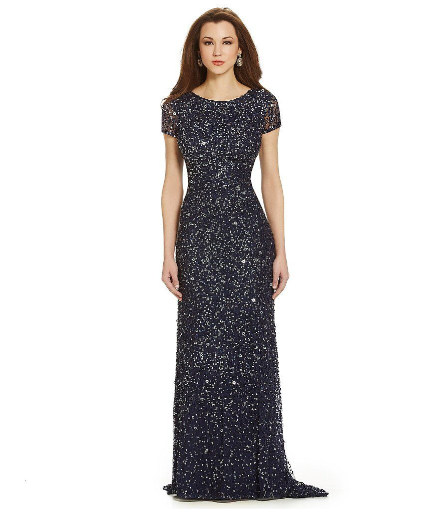 Adrianna papell petite sequined shortsleeve gown short sleeves