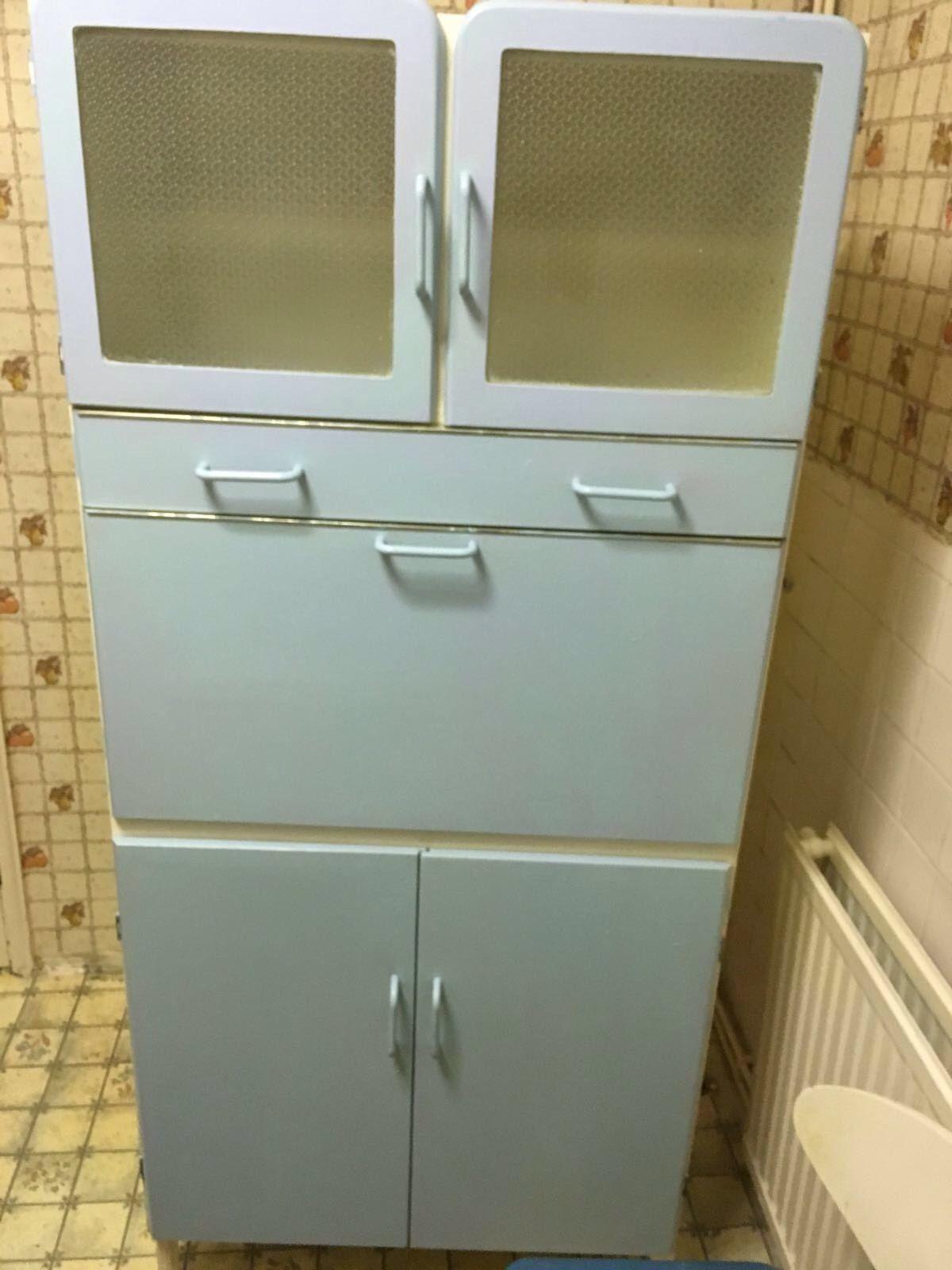 Retro Vintage Blue Kitchen Cupboard Cabinet Larder