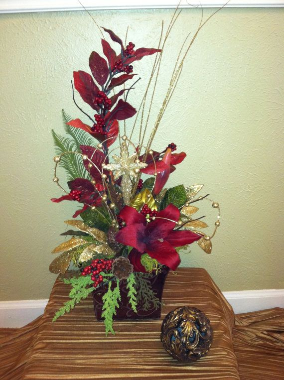 Christmas burgandy silk floral arrangement christmas or - Centros florales navidenos ...