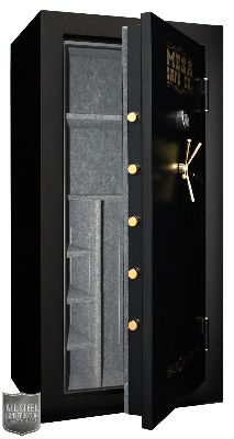 """Gun Safe, 32-Rifle Capacity, 71 x 36 x 24"""", Interior 22.9-cu ft, heavy-duty solid steel hinges, 1.5"""" diameter solid steel bolts, 4-3/8""""-thick lined fire-resistant door, 3-way locking system, steel plate lined with resistant material, 2-story impact rating, 1-hr/1750F heat activated seal, drill resistant hard plate electronic lock, fully upholstered interior & adjustable shelving system, low battery warning, 4 pre-drilled anchor holes & anchor kit, Black…"""