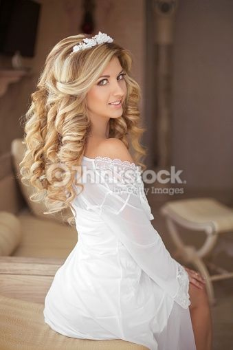 Stock Photo Healthy Hair Beautiful Smiling Girl Bride