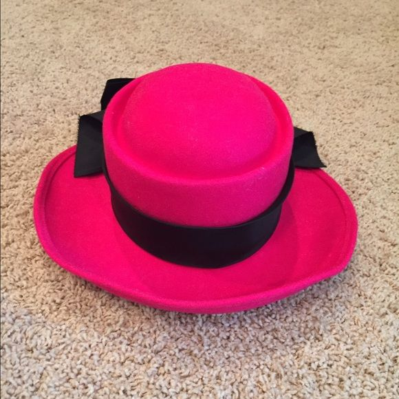 Bollman Hat Company pink wool hat Bollman Hat Company pink wool hat with  black ribbon trim. Doeskin felt. 100% wool. Made in USA. e5d16b76c7ec
