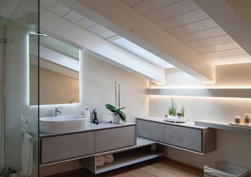 Illuminazione bagno con strisce led diffusa e scenografica ikea