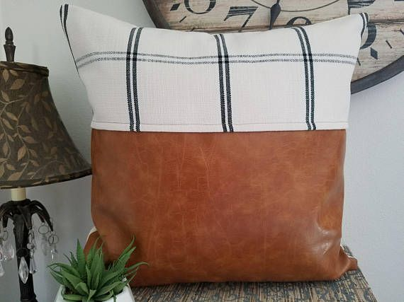 Faux Leather Throw Pillow With Cream Black Plaid Fabric Decorative Cover Accent Be