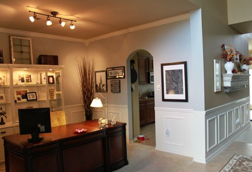 Turned Dining Room Into Officeused Fake Wainscoting Trim Molding Boxesand Paint