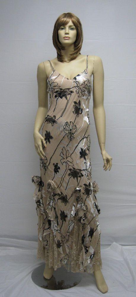 Sue Wong Designer Dress Floral 6 Cocktail Peachy Beige Brown Long gown Evening #SueWong #Cocktail
