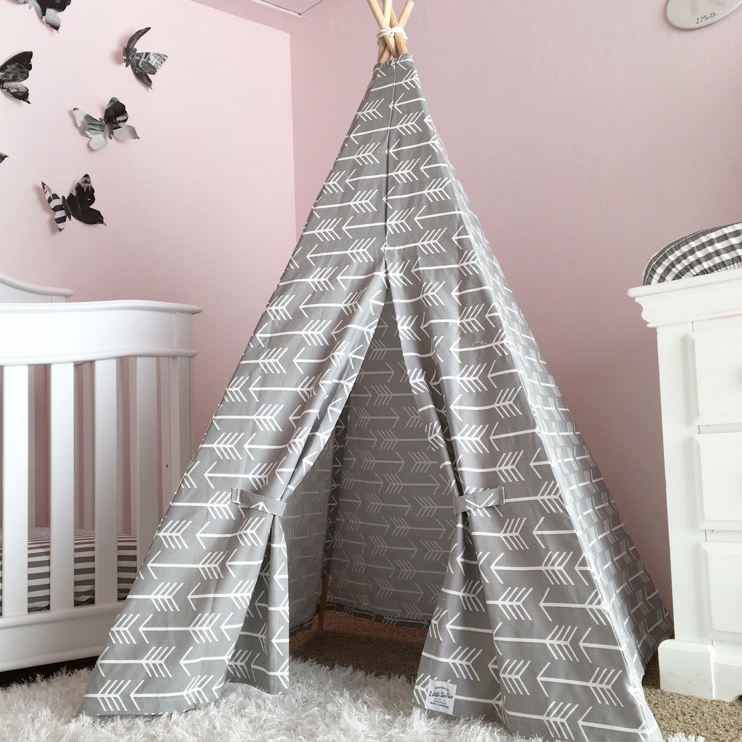 Kids Teepee Play Tent in Grey Arrow Canvas Childrens teepee tent
