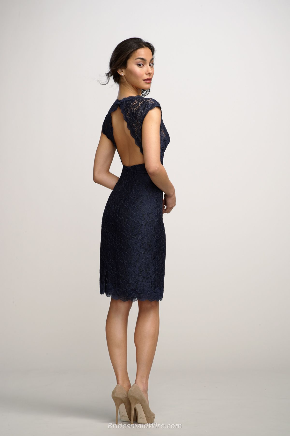 Navy v neck lace cap sleeves knee length bridesmaid dress with navy v neck lace cap sleeves knee length bridesmaid dress with open keyhole back ombrellifo Images