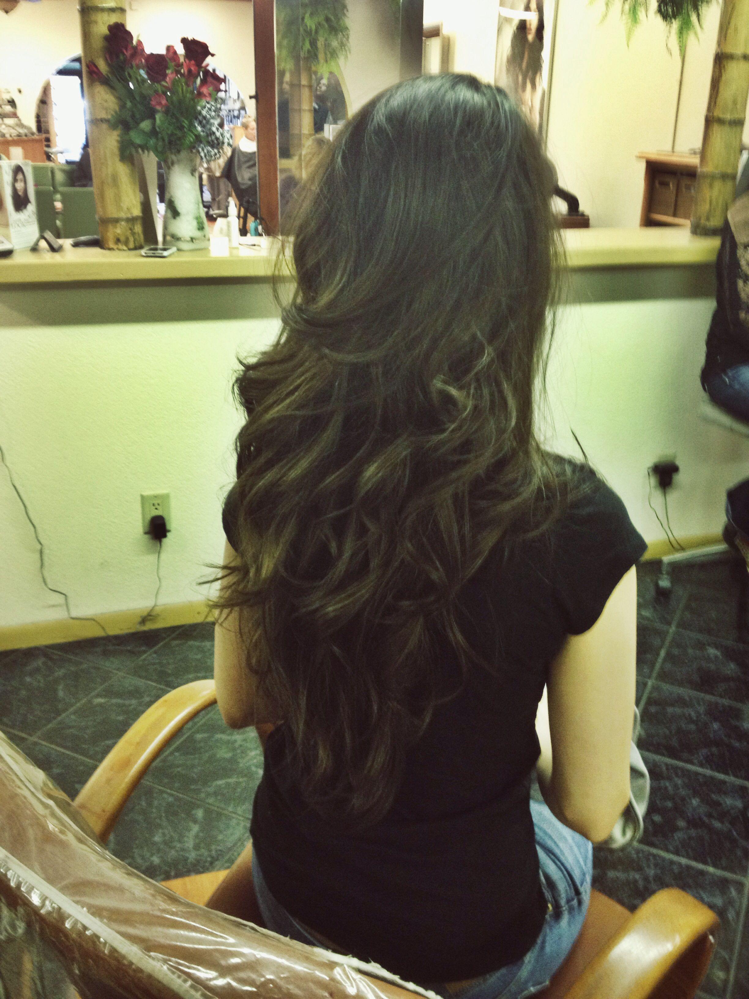 Long V Shape Layered Haircut by Jordan Bowen at Danielus Salon