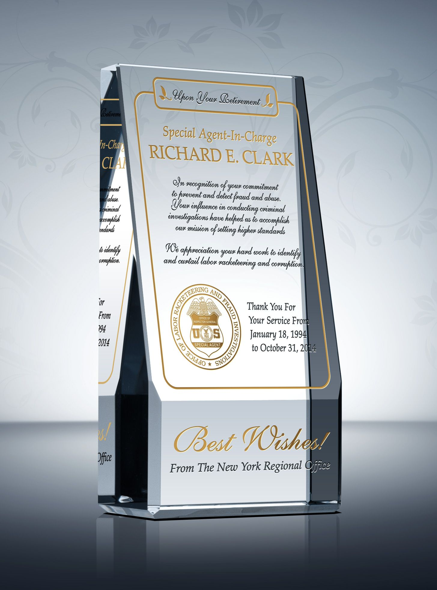 commemorative retirement award retirement federal and the o jays whether you are looking to recognize a retired law enforcement officer at a ceremony or given an individual gift for his mentorship this wedge law