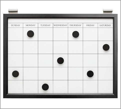 Daily Organization System Black Magnetic White Board