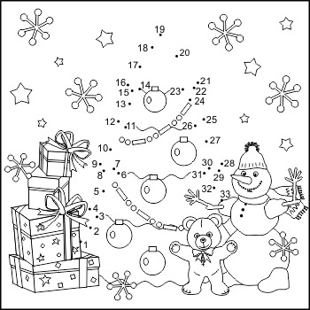 Connect The Dots And Coloring Page With Christmas Tree Commercial Use Allowed Christmas Tree Drawing Christmas Coloring Pages Coloring Pages Christmas connect the dots printable