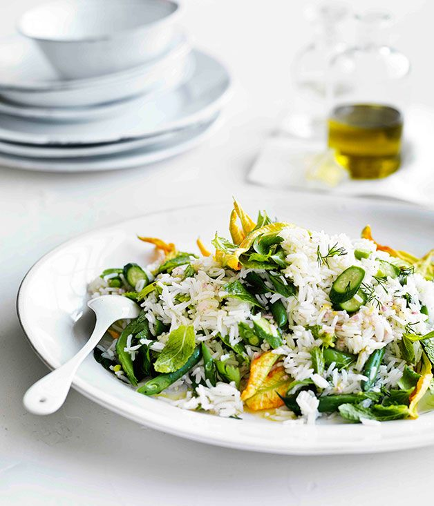 Australian Gourmet Traveller recipe for rice salad with zucchini flowers, peas, beans and mint.